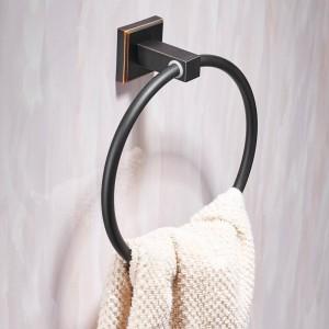タオルリング現代の黒の壁に取り付けられたタオル掛けハンガータオル掛け浴室の付属品家の装飾銅タオルバー601007