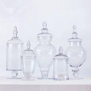 透明キャンディジャーパーティーデザート収納ボトルディナーテーブル装飾ハイストライプカバー収納タンクガラス瓶と蓋