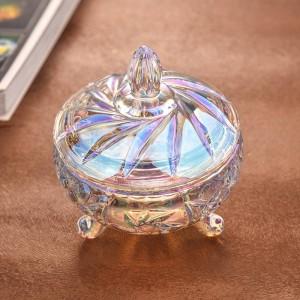 透明なカラフルなクリスタルガラスキャンディージャー結婚式キャンディージャー収納ドライフルーツ缶ジュエリー収納装飾的な道具