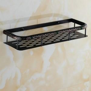 ツイン花シリーズ彫刻ブラック真鍮浴室収納バスケット浴室付属品浴室の棚トイレ洗面化粧台棚40センチ