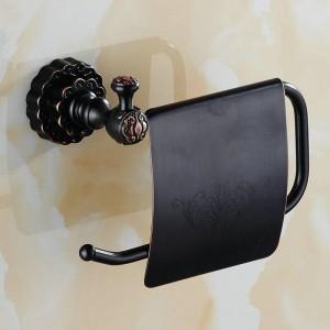 ツインフラワーシリーズ彫刻ブラック真鍮トイレットペーパーホルダーバスルームアクセサリーペーパーシェルフペーパーラック