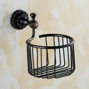 ツイン花シリーズ彫刻真鍮ブラックラウンドバスルームバスケットペーパーホルダーバスルームアクセサリートイレの洗面化粧台
