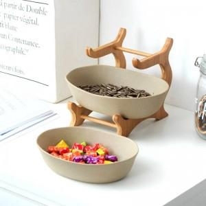 2層つや消しセラミックサービングボウル装飾陶器ディナープレート竹食器センターピース用フルーツ、サラダ、スナック
