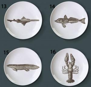 水中世界のテーマフィッシュプレートレトロクリエイティブスナックディッシュバーホテルホーム装飾プレート手描き模様のDiyプレート