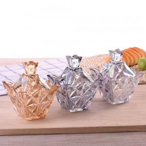 様々なカラフルなダイヤモンドガラスキャンディジャー蓋付き収納キャンディボックスクリエイティブ透明な砂糖缶キューブ収納タンク
