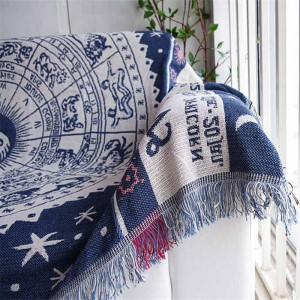 ヴィンテージエキゾチックスタイル投球毛布ギフト装飾コベルターマンタパラソファ/ベッド旅行チェック柄滑り止めステッチ毛布タッセル