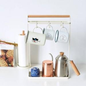 ヴォーグ北欧金属木材収納棚付きグリッドボトムトレイキーカップ調味料ボトルホルダー収納オーガナイザー用ホーム