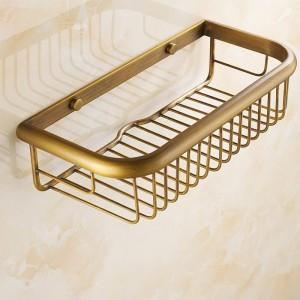 壁掛け式アンティーク真鍮仕上げ浴室付属品浴室用棚30cmバスケット30cm