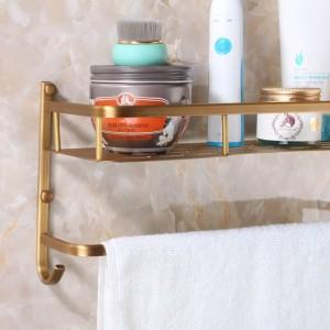 壁掛けアンティーク仕上げ新しいアルミヴィンテージ浴室のシャワーシャンプー棚バスケットホルダーファッション二重層9100K