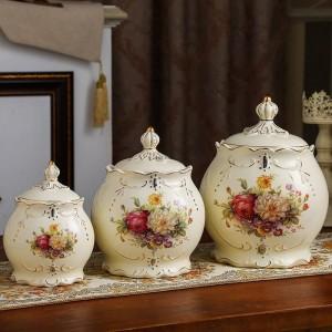 結婚式の装飾密封された鍋の陶磁器の貯蔵タンクの穀物の雑多な穀物の茶缶ピクルス瓶キッチンキャンディ缶