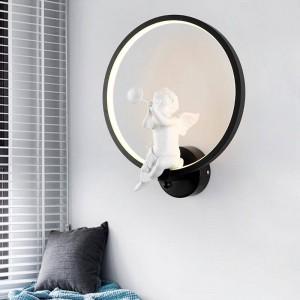 ホワイト/ブラックアクリルクリエイティブモダンなledウォールライトエンジェル子供の寝室のベッドサイドled燭台浴室の壁ランプlustres