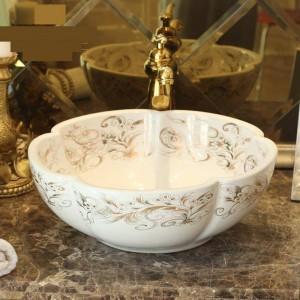 白い花の形手作りラバボ洗面台アート洗面台セラミックカウンタートップ洗面台浴室シンクシンク