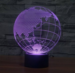 世界地図形状タッチ新しいナイトライト地球地図形状アクリル3d錯覚ランプ子供キッズベッドルームの装飾ledナイトランプ