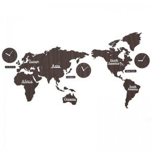 世界地図壁時計リビングルーム北欧人格時計背景壁飾り時計DIY木材壁掛け時計壁飾り