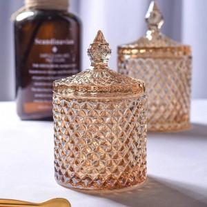 黄色菱形クリスタルガラス瓶コーヒーキューブシュガーボウルシリンダー綿棒ボックスフラワーティーポットホームジュエリー収納缶